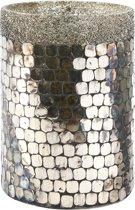 Rivièra Maison Sparkling Mosaic Hurricane - M - Windlicht - Glas - Zilver