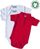 TOSKE 3-pak baby rompers korte mouw/polokraag - Wit/rood - Maat 74/80