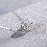 Zilveren ketting met luxe cilindrische hanger S925