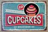 Wandbord Cupcakes Metaal Muur Decoratie Eten & Drinken Emaille Vintage Retro Tekst Metalen Reclame Bord - Metal Tin Sign - Vitch!™