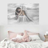 Canvas Schilderij * Engel in de Wolken * - Kunst aan je Muur - Romantisch - kleur - 60 x 90 cm