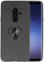 Softcase voor Galaxy S9 Plus Hoesje met Ring Houder Zwart