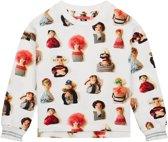 Holala biokatoen off-white sweater met urker dolls print