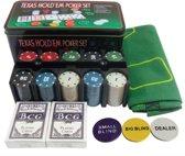 Luxe Pokerset met Chips Speelkaarten en Speelmat – Texas hold'em of Blackjack