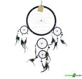Dromenvanger zwart 5 rings met spiegeltjes 22 cm   Black Mirror XL