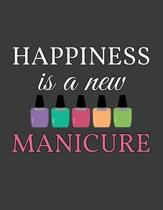 Happiness Is A New Manicure: Appointment Book Nail Salon - Daily and Hourly - Undated Calendar - Schedule Interval Appt & Times