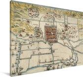 Historische stadskaart van Haarlem Canvas - Plattegrond 30x20 cm - klein - Foto print op Canvas schilderij (Wanddecoratie woonkamer / slaapkamer)