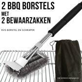 2 BBQ Borstels met Schraper - Schoonmaakborstel - Barbecue Krabber met 2 Handige Bewaarzakken 2 in 1