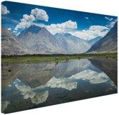 Mooi landschap in Leh Himalaya Canvas 60x40 cm - Foto print op Canvas schilderij (Wanddecoratie)