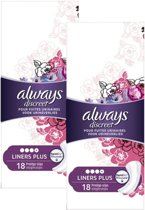 Always Incontinentie verband Discreet Urineverlies Liners Long Plus - 36 inlegkruisjes (2x18)