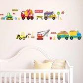 Muursticker Wegenbouw voertuigen - kinderkamer - hijskraan kiep auto - vrachtwagen Muursticker jongen stickerkamer