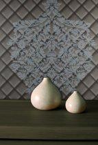 Dutch Wallcoverings Vliesbehang leer damast ruit - bruin