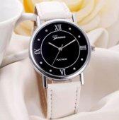 Hidzo Horloge Geneve Platinum ø 37 mm - Wit - In horlogedoosje