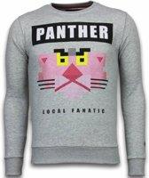 Local Fanatic Panther - Rhinestone Sweater - Grijs - Maten: M