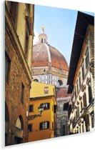 Kleurrijke straat en de Dom van Florencein Italië Plexiglas 120x180 cm - Foto print op Glas (Plexiglas wanddecoratie) XXL / Groot formaat!