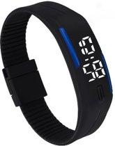 LED Horloge -  Tieners - Horloge - Rubber - 20 mm – Zwart/ blauw – geschikt vanaf 12 jaar - I-deLuxe verpakking