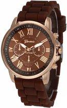 Fako Bijoux® - Horloge - Geneva - Roman Siliconen - Bruin
