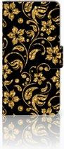 Huawei Honor 9 Boekhoesje Design Gouden Bloemen