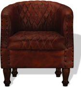 Luxe Fauteuil Bruin Echt Leer / Loungestoel / Lounge stoel / Relax stoel / Chill stoel / Lounge Bankje / Lounge Fauteil / Cocktail stoel