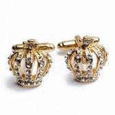 Manchetknopen - Kroon Queen Rose Goud Diamantjes