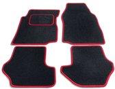 PK Automotive Complete Naaldvilt Automatten Zwart Met Rode Rand Toyota Yaris 3 deurs 2003-2006