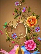 Diamond painting - verliefde vogels - Love birds - bloemen - 30x48cm