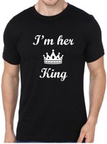 Valentijn T-shirt| Her King | zwart | Medium