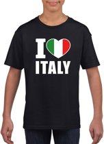 Zwart I love Italy supporter shirt kinderen - Italie shirt jongens en meisjes M (134-140)