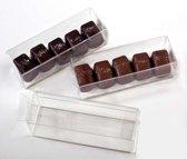 Plastic Doosjes voor chocolade Truffels 3,5x3,5x10,8cm (25 stuks)