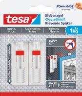 6x Tesa Klevende Spijker voor Behang en Pleisterwerk, verstelbaar, draagvermogen 1 kg, blister a 2 stuks