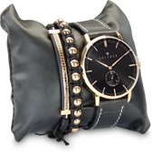 Kaliber 7KA SET003 Horloge Set met Armbanden - Leren Band - Ø 40 mm - Zwart / Rosékleurig