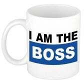 I am the boss mok / beker - blauw - 300 ml - keramiek - heren