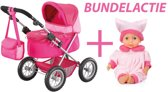 Bayer - Poppenwagen Trendy roze met pop