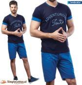 Embrator Huispak / Zomerset / Shortama 2-delig shirt&short 674 blauw maat L