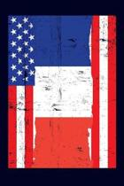 French American Flag Notebook: 6x9 college lined notebook to write in with the flags of France and the United States