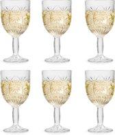Libbey Wijnglas Atik – 230 ml / 23 cl – 6 stuks – ster motief – vaatwasserbestendig – vintage design – hoge kwaliteit