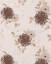 Exclusief behang bloemen EDEM 824-23 behang chrysanten beige chocolade licht bruin grijs wit   70 cm