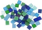 Mini mozaiek afm 5x5 mm dikte 2 mm blauw/groen harmonie 25gr