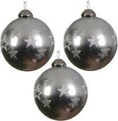 Glas Kerstballen Met Glittersterren (8cm) Box 3 Stuks Grey