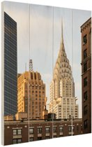 Manhattan Wolkenkrabbers Hout 60x80 cm - Foto print op Hout (Wanddecoratie)