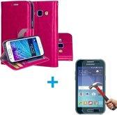 Samsung Galaxy J1 2016 Portemonnee hoes roze met Tempered Glas Screen protector