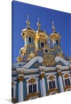 De torens van het Catharinapaleis in Rusland Canvas 40x60 cm - Foto print op Canvas schilderij (Wanddecoratie woonkamer / slaapkamer)
