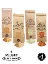 Smokey Olive Wood - Rookmot - Selectie en vuurkruiden - Olijf/Beuk - Amandel - Sinaasappel en vuurkruiden - 4 X 300ml