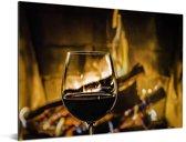 Heerlijke rode wijn voor de houtkachel Aluminium 160x120 cm - Foto print op Aluminium (metaal wanddecoratie) XXL / Groot formaat!