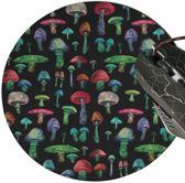 muismat Paddestoel zwart - met textiel toplaag - rond 20 cm
