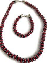 Petra's Sieradenwereld - Ketting gevlochten zwart rood met bijpassende armband