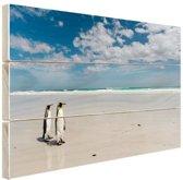 Koningspinguins op het strand Hout 80x60 cm - Foto print op Hout (Wanddecoratie)