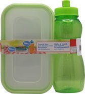 Lunchbox met drinkfles 500ml groen - broodtrommel