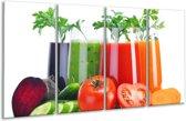 Glas schilderij Groenten, Keuken | Wit, Oranje, Groen | 160x80cm 4Luik | Foto print op Glas |  F007105
