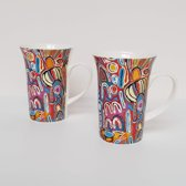 Designmokken set van 2 - Judy Napangardi Watson - Aboriginal collectie